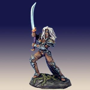 Female Dark Elf Warrior with Bastard Sword