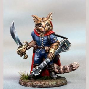Maine Coon Cat Bard with Lute